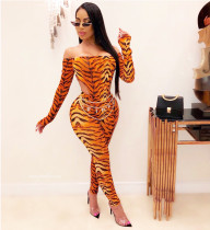 Sports Fashion Off Shoulder Long Sleeve Tigers Pattern Bodysuit+Long Pants Set YFS-102