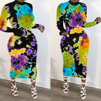 Sexy Print Slim Long Sleeve Dress NIK-154