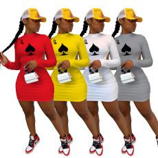 Poker Print Backless Long Sleeve Mini Dress IV-8113