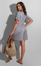 Plus Size Solid V Neck Loose Wide Leg Rompers YM-9226