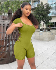 Plus Size Solid Rib Hollow Out Skinny Rompers CL-6066