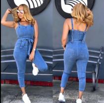 Denim Sleeveless Strap Skinny Jeans Jumpsuits SH-3816