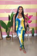 Plus Size Tie Dye Long Slip Dress With Headscarf FNN-8515