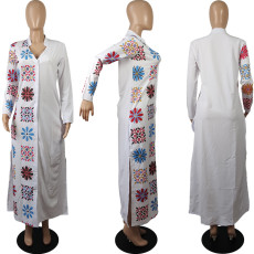 White Printed V Neck Long Sleeve Maxi Shirt Dress MIL-141