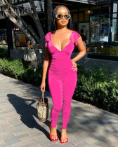 Solid Deep V Neck Sleeveless Ruched Jumpsuits MYP-8928