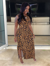 Plus Size Leopard Print Split Sleeveless Long Dress HGL-1348