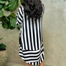 Casual Loose Striped Turndown Collar Shirt Dress BS-1221