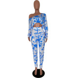Tie Dye Long Sleee Stacked Pants 2 Piece Sets ARM-8210