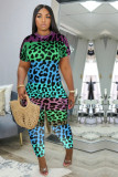 Plus Size Leopard Short Sleeve 2 Piece Pants Set MLF-8072