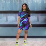 Casual Tie Dye Print Two Piece Shorts Set MLF-8059