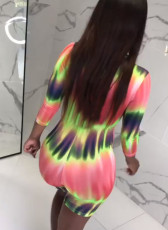 Tie Dye V Neck Back Zipper One Piece Rompers MLF-8021