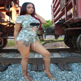 Camouflage Hollow Lace Up 2 Piece Shorts Set MLF-8008