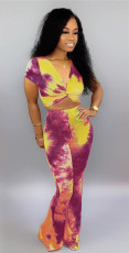 Tie Dye Print V Neck Boot Cut Pants Two Piece Sets MLF-8024