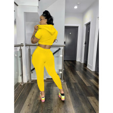Solid Hooded Zipper Casual Two Piece Pants Set AWF-0009