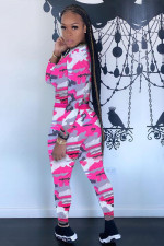 Camo Print Long Sleeve Tight Two Piece Pants Set BMF-115