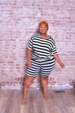 Plus Size 5XL Striped Two Piece Shorts Set BMF-004