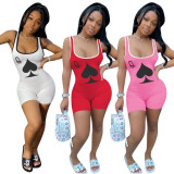 Plus Size Poker Print Sleeveless Tank Top Rompers HGL-1388