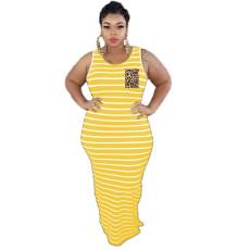 Plus Size 4XL Striped Sleeveless Maxi Dress AWF-0002