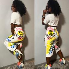 Graffiti Print Short Sleeve Split Midi Skirt 2 Piece Sets AWF-0006
