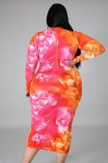Plus Size 5XL Printed Long Sleeve Midi Dress BMF-003