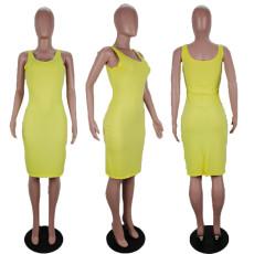 Yellow Sleeveless Split Bodycon Dress AWF-0001
