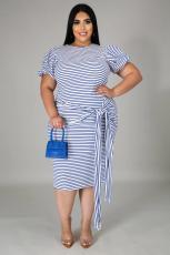Plus Size 5XL Striped Short Sleeve Sashes Midi Dress BMF-005