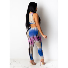 Tie Dye Print Sleeveless Two Piece Pants Set AWF-0007