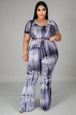 Plus Size 5XL Tie Dye Fat MM Two Piece Pants Set BMF-008