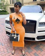Plus Size 4XL Poker Print Short Sleeve Slim Maxi Dress AWF-0012