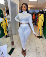 Solid Long Sleeve Tight Two Piece Pants Set FNN-8516