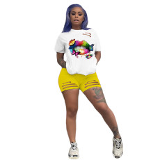 Casual Lips Print T Shirt Shorts Two Piece Suits AWF-0005