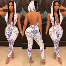 Sexy Nightclub Deep V Tie-dye Print Backless Hooded Jumpsuit YFS-814