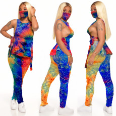 Fashion Tie-dye Casual Home Sports Pants Suit (including mask) LX-2077