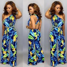 Fashion Sexy Printed Oblique Shoulder Jumpsuit YFS-905