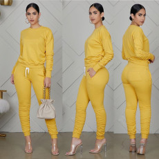 Streetwear Fashion Casual Tracksuit Solid Color Long Sleeve Pants Set XMY-9255