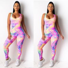 Sexy Tie-Dye Print Sleeveless Party Sport Skinny Jumpsuit YFS-809