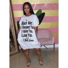 Plus Size Letter Print Loose Knee Length Dress YFS-3536