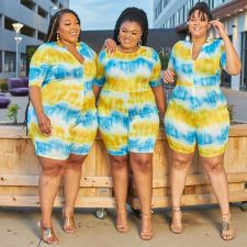 Plus Size 5XL Tie Dye Skinny One Piece Rompers OSM2-4207