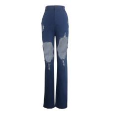 Denim High Waist Hole Long Jeans Pants HSF-2022