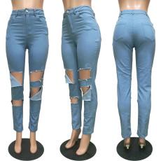 Denim High Waist Holes Long Jeans Pants BGN-097