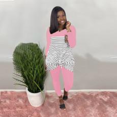 Plus Size Striped Long Sleeve Two Piece Pants Set BLI-2094