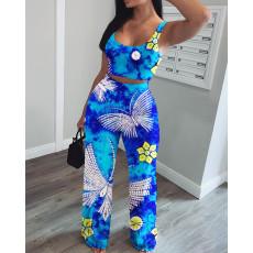 Plus Size 4XL Tie Dye Tank Top Long Pants 2 Piece Sets YFS-3538