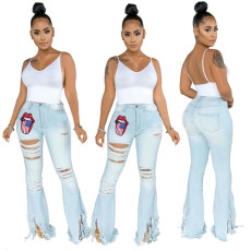 Plus Size Denim Embroidery Ripped Hole Flared Jeans HSF-2280