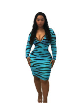 Zebra Stripe Long Sleeve Front Zipper Bodycon Dress MYF-2316