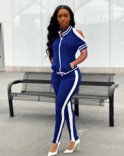 Fashion Casual Short Sleeve Top Pants Zipper Split Tracksuit Two Piece Set FSL-099