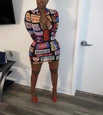 Fashion Printed Zipper Long Sleeve Tight Dress MIL-145