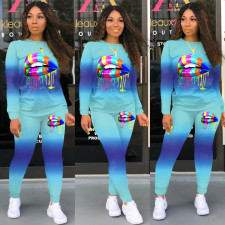 Gradient Lips Print Long Sleeve Two Piece Pants Set SH-3834