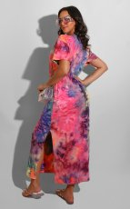 Tie Dye Print Short Sleeve Split Long Dress AIL-113