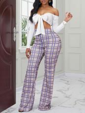 Plaid Print High Waist Long Flared Pants CYAO-8573