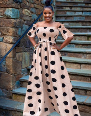 Elegant Sweet Off Shoulder Polka Dot Long Dress QZX-6148